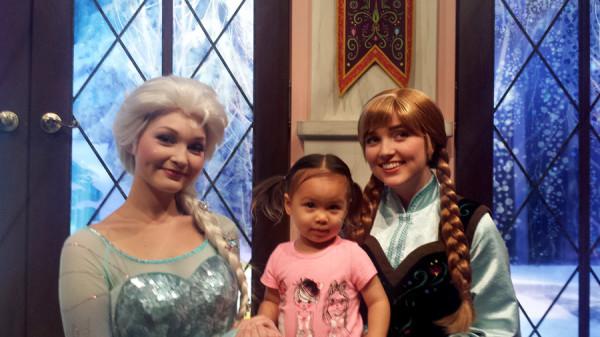 Visiting Ana and Elsa at Disneyland